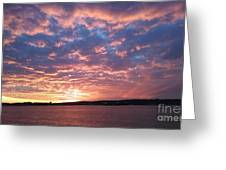 Sunset Over The Narrows Waterway Greeting Card by John Telfer