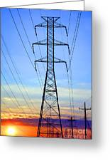 Sunset Power Lines Greeting Card by Olivier Le Queinec