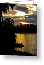 Sunset Silhouette Bethanie Inn Kibuye Lake Kivu Rwanda Africa Greeting Card by Robert Ford