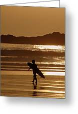 Sunset Surfer Greeting Card by Ramona Johnston