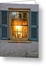 Sunset Through A Window Greeting Card by Olivier Le Queinec