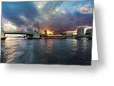 Sunset Waterway Panorama Greeting Card by Debra and Dave Vanderlaan