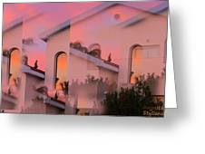 Sunsets On Houses Greeting Card by Augusta Stylianou