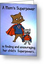Super Mom And Son Greeting Card by Pet Serrano