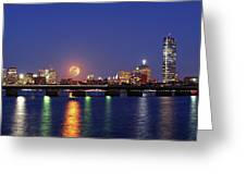Super Moon over Boston Greeting Card by Juergen Roth