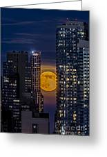 Super Moon Rises Over The Big Apple Greeting Card by Susan Candelario
