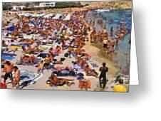 Super Paradise Beach In Mykonos Island Greeting Card by George Atsametakis