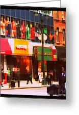 Superheroes Of New York - Midtown In Gotham City Greeting Card by Miriam Danar