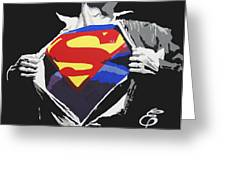 Superman Greeting Card by Erik Pinto