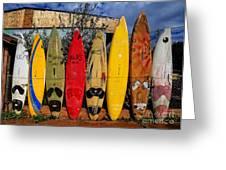 Surf Board Fence Maui Hawaii Greeting Card by Edward Fielding