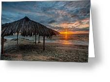 Surf Shack Sunset Greeting Card by Peter Tellone