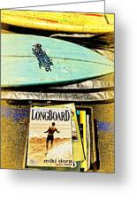 Surfboards And Magazines Greeting Card by Ron Regalado