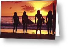Surfer Girl Silhouettes Greeting Card by Sean Davey