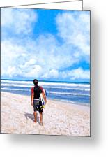 Surfer Hunting For Waves At Playa Del Carmen Greeting Card by Mark E Tisdale