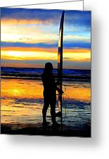 Surfer Sunset Greeting Card by Douglas J Fisher