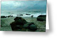 Surfers at dusk 2 Greeting Card by Alberta Brown Buller