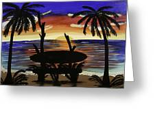 Surfers Bench Greeting Card by Donna Guzman
