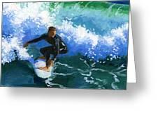 Surfin' Huntington Beach Pier Greeting Card by Alice Leggett