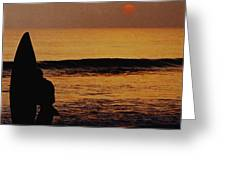 Surfing at Sunset Greeting Card by Anonymous