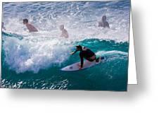 Surfing Maui Greeting Card by Adam Romanowicz