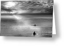 Surfing With The Dolphin Greeting Card by Artist and Photographer Laura Wrede