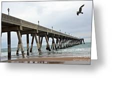 Surreal Blue Sky Ocean Coastal Fishing Pier Seagull North Carolina Atlantic Ocean Greeting Card by Kathy Fornal