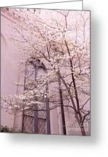 Surreal Dreamy Church Window With Pink Trees Greeting Card by Kathy Fornal