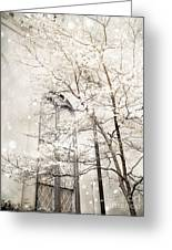 Surreal Dreamy Winter White Church Trees Greeting Card by Kathy Fornal