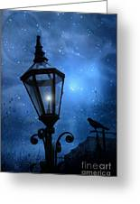 Surreal Fantasy Gothic Blue Night Lantern With Ravens - Starry Night Surreal Lantern Blue Moon Greeting Card by Kathy Fornal