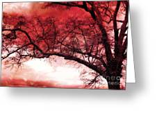 Surreal Fantasy Gothic Red Tree Landscape Greeting Card by Kathy Fornal