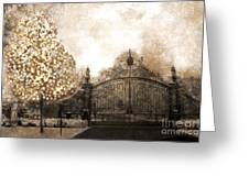 Surreal Fantasy Haunting Gate With Sparkling Tree Greeting Card by Kathy Fornal