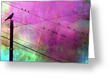Surreal Gothic Fantasy Raven Crows On Powerlines Greeting Card by Kathy Fornal