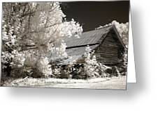 Surreal Infrared Sepia Barn Farm Landscape Greeting Card by Kathy Fornal