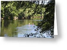 Suwanee River Kayakers Greeting Card by Theresa Willingham