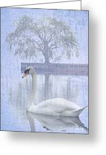 Swan Lake By A Tree Greeting Card by Adspice Studios
