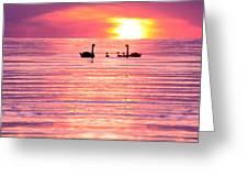 Swans On The Lake Greeting Card by Jon Neidert