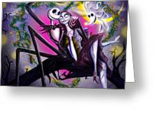 Sweet Loving Dreams In Halloween Night Greeting Card by Alessandro Della Pietra