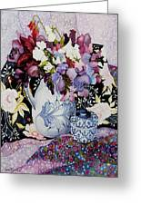 Sweet Peas In A Blue And White Jug With Blue And White Pot And Textiles  Greeting Card by Joan Thewsey