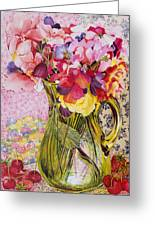Sweet Peas With Cherries And Strawberries Greeting Card by Joan Thewsey
