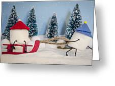 Sweet Sleigh Ride Greeting Card by Heather Applegate