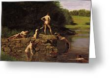 Swimming Greeting Card by Thomas Eakins