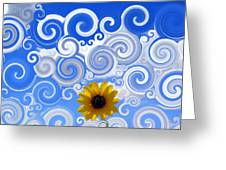 Swirly Sky Sun Flower Greeting Card by Michelle Elaine Smith