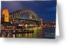 Sydney Harbour Bridge By Night Greeting Card by Kaye Menner