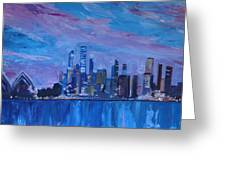 Sydney Skyline With Opera House At Dusk Greeting Card by M Bleichner