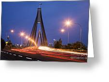 Sydney Traffic and Anzac Bridge at Twilight Greeting Card by Colin and Linda McKie