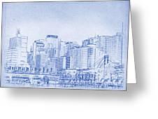 Sydney's Cockle Bay Blueprint Greeting Card by Kaleidoscopik Photography