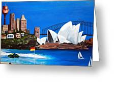 Sydneyscape - Featuring Opera House Greeting Card by Lyndsey Hatchwell