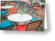 Tables And Chairs Greeting Card by Tom Gowanlock