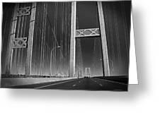 Tacoma Narrows Bridge B W Greeting Card by Connie Fox