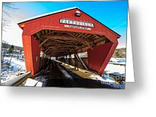 Taftsville Covered Bridge In Vermont In Winter Greeting Card by Edward Fielding